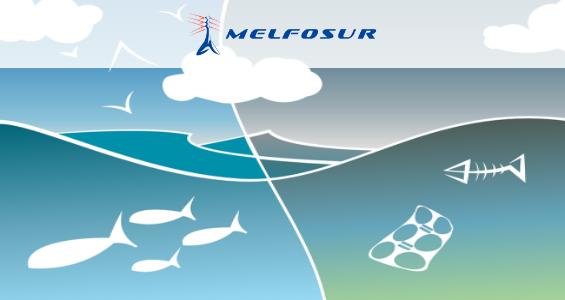 Dibujo de un mar en el que se ven residuos en el agua al lado de fauna marítima para mostrar la función de la biomasa como energía renovable