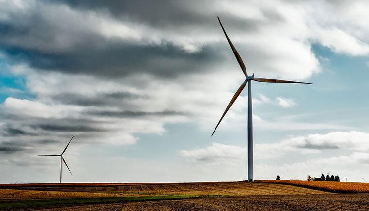 Unos molinos de viento en un prado que aportan algunas ventajas y desventajas de la energía eólica
