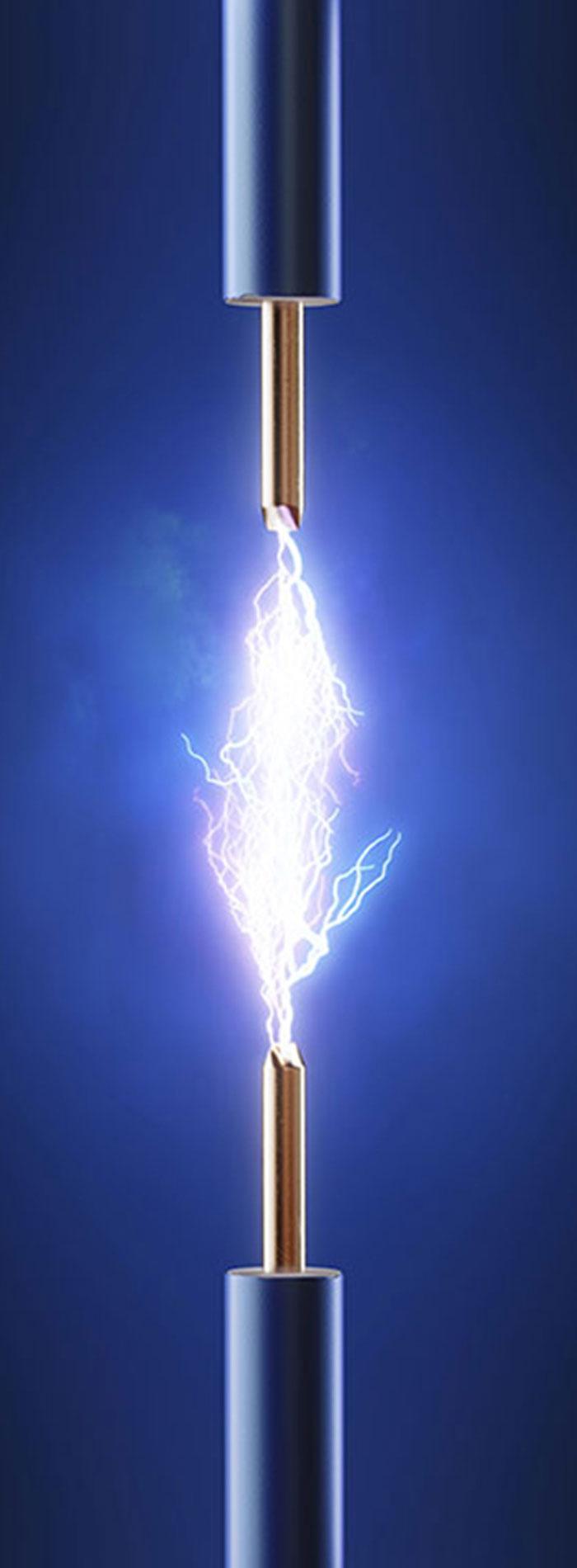 Dos cables unidos por un rayo de electricidad que identifican los equipos de medida eléctrica