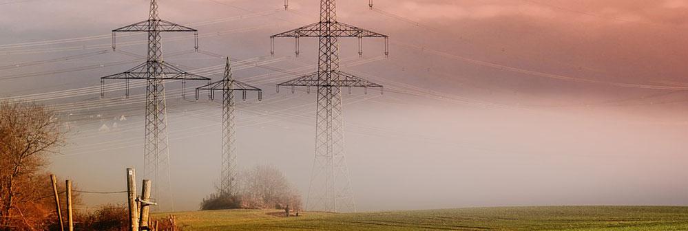 Una red de distribución aérea de media tensión con varios postes en una zona rural